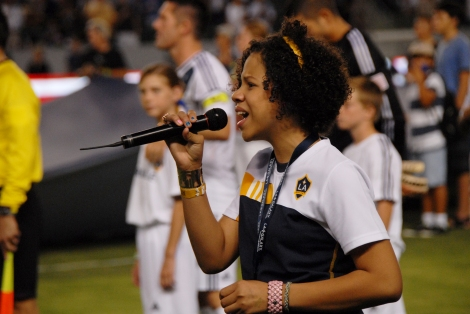 (c) Stan Thomas. Mimi Sledge sings National Anthem at LA Galaxy game